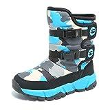 Stivali da Neve Bambini Scarpe Ragazza Inverno Stivaletti Pelliccia Boots Impermeabile Stivali Scarpe Mimetiche Piatte BlueA 35 EU