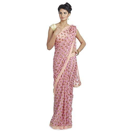 Ethnic Bliss Lifestyles Women's Chiffon Saree (Eblphksrmc-Lp-A5_Light Pink)