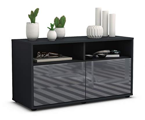 Stil.Zeit TV Schrank Lowboard Alegra, Korpus in Anthrazit Matt/Front im Hochglanz Design Grau Graphit (92x49x35cm), mit Push to Open Technik, Made in Germany -