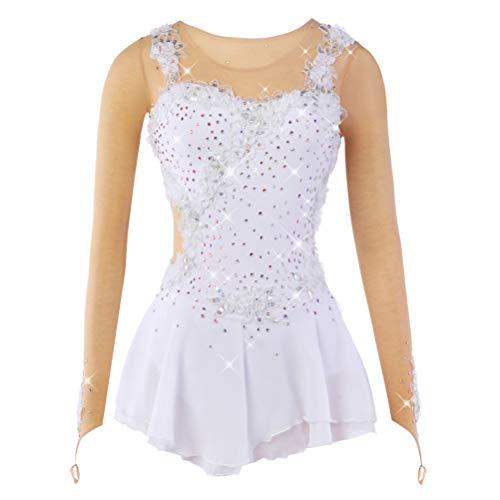 YunNR Handgefertigt Eiskunstlaufkleid für Mädchen/Kind Rollschuh-Kleid Wettkampfkostüm Applikationen Lange Ärmel Elastische Eislaufkleider, S