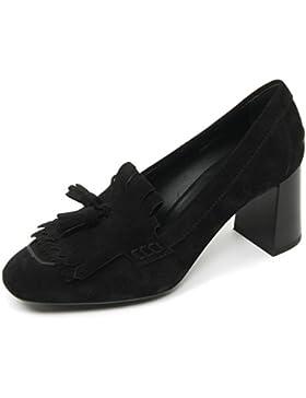 B9578 decollete donna TOD'S gomma T70 scarpa frangia nappine nero shoe woman
