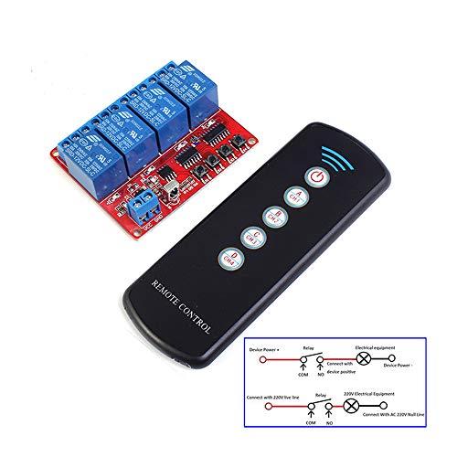 12 V 4 Kanal IR Infrarot Empfänger Board Verzögerung Relais Fahrmodul + 5-Key Fernbedienung Self-Lock Interlock Inching Schalter -