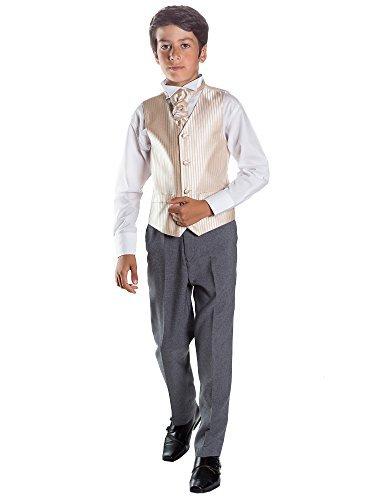 Paisley of London, Kostüm Weste Jungen, Seite Jungen Outfits, Gestreift, Hose grau, 3-6Monate-14Jahre Gr. 12 Jahre, gold (Gilet Gris Kostüm)