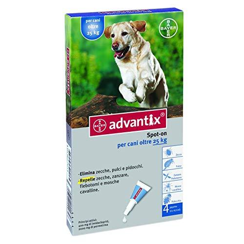 Advantix  Spot On per cani oltre 25 Kg - 4 pipette da 4.0 ml - Antiparassitario per Zecche Pulci e Pidocchi
