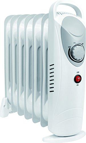 Daewoo Blanc Radiateur à bain d'huile Électrique Portable. Petit, 800W. 3 niveaux de puissance et thermostat réglable.