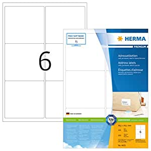 Herma 4653 Premium Adressetiketten (99,1 x 93,1 mm) weiß, 600 Adressaufkleber 100 Blatt A4 Papier matt, bedruckbar, selbstklebend