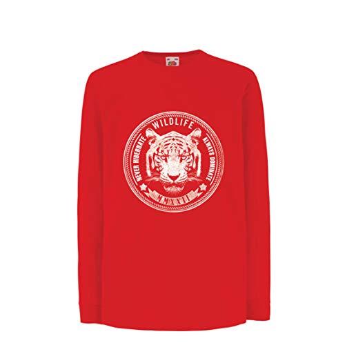 lepni.me Kinder-T-Shirt mit Langen Ärmeln Tierwelt - Überwintern Sie nie, dominieren Sie Immer (14-15 Years Rot ()
