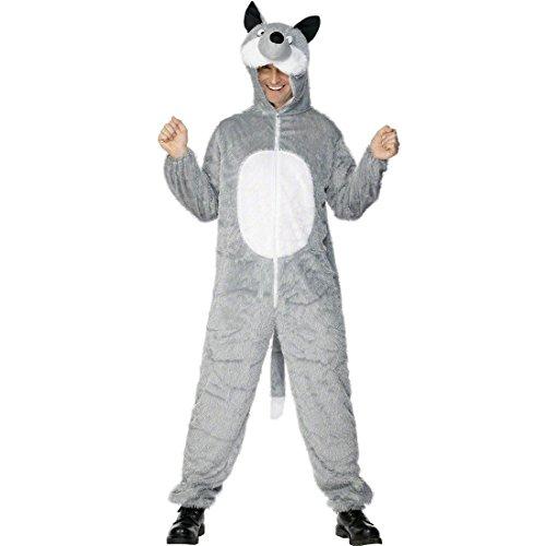 NET TOYS Wolf Kostüm grau max. 180 cm Wolfskostüm Wolfkostüm Tierkostüm Märchenkostüm (Max Wolf Kostüm Für Erwachsene)