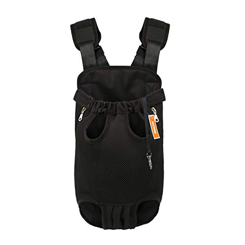 NICREW Mochila del Perro, Bolso para Perros y Gatos, Adjustable Bolsa Delantera Pet Front Cat Dog Carrier Backpack, Viaje Bolsa de Transporte de Mascotas para Viajar/Senderismo/Camping-M-Negro