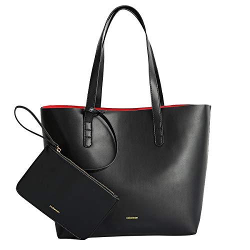 c003c45228 imbettuy Borsa Donna Elegante Borse Donne Semplice Tinta Unita Grande  Capacità a Mano Borse nero PU pelle borsa