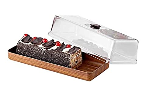 Board Plastic Cover Cake In Coloured Design Wooden Country Style Wood Effect/16x 39x 13cm/Dishwasher Safe/Serving Platter, Rectangle