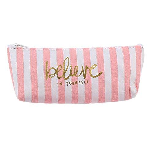 Cosanter Petite Poche Boîte Crayons Stylo Sac Papeterie Sacs Cosmetic Bag pour Papeterie Cadeau Scolaire Rose