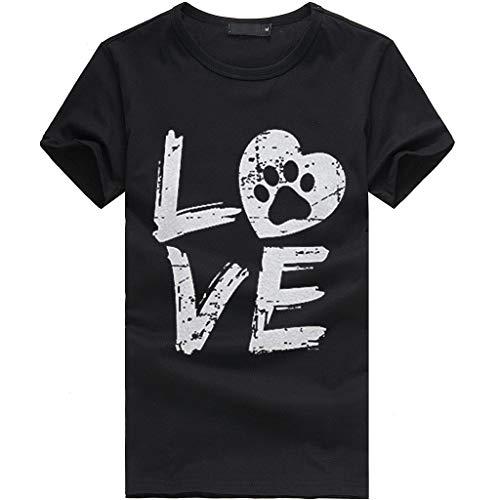 QingJiu Damen T-Shirt Lose Oansatzspitze Der Art Und Weisefrauen KurzäRmliges Herzdruck (XXX-Large, Schwarz)