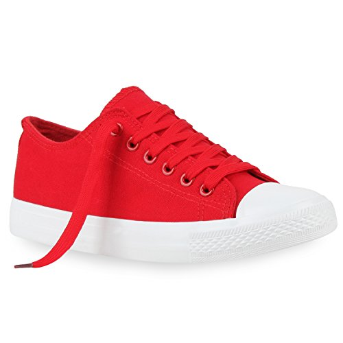 Komfortable Damen Basic Sneakers Low Helle Sohle Schnürer Rot