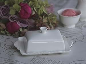 Beurrier pROVENCE de style rétro chic blanc antique porcelaine 13 x 20 cm