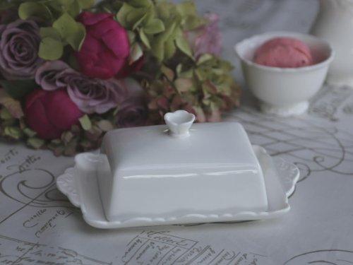 Nostalgie Butterdose PROVENCE von Chic Antique, Porzellan, Weiß, 13x20 cm