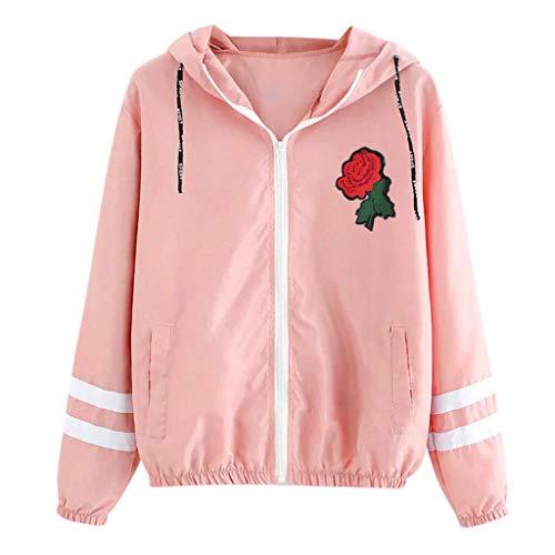 Jacke Damen TWISFER Frauen Elegant Rose Stickerei Jacke mit Kapuze Herbst Patchwork Hoodie Sweatjacke Dünner Reißverschluss Mantel mit Taschen Sport Outwear Kapuzenpullover Pulli Tops