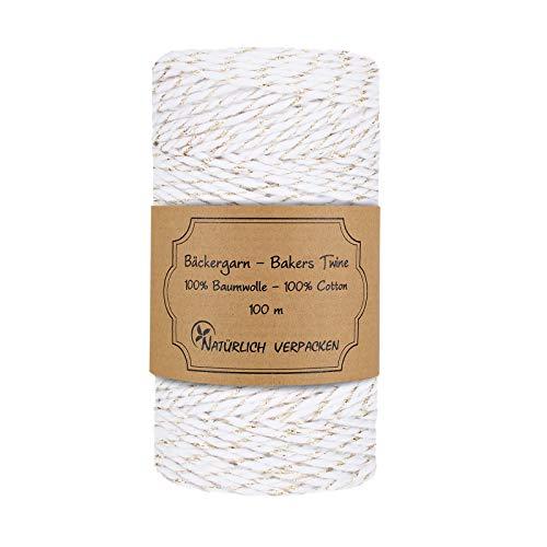 Bäckergarn Weiß und Gold, 100 m, zweifarbig, 100% Baumwolle, biologisch abbaubar, Bakers twine, Deko-Schnur -