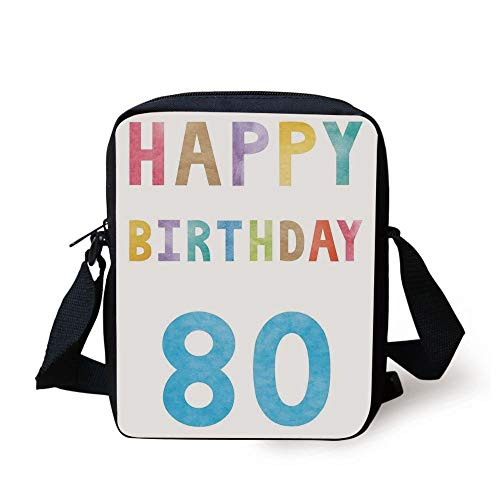 80th Birthday Decorations,Old Ancient Abstract Vintage Happy Birthday Party Theme Artwork,Multicolor Print Kids Crossbody Messenger Bag Purse