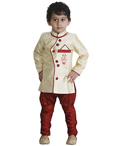 JBN Creation Cream Kids Silk Angrakha Style Indo Western Sherwani Suit Dress...