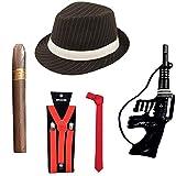 Islander Fashions Adult Herren 1920er Jahre Hut Krawattenklammern Zigarre Red Gangster Kost�mzubeh�r One Size
