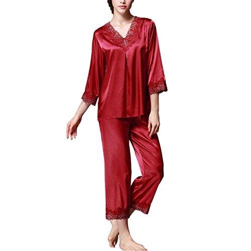 Deylaying Frauen Satin Seide Pyjama-Set 3/4 Ärmel V-Ausschnitt Spitze Trimmen Mädchen Nachtwäsche 2 Stück Slip Lose Loungewear Schlafanzüge Nacht Kleidung (2 Stück Loungewear)