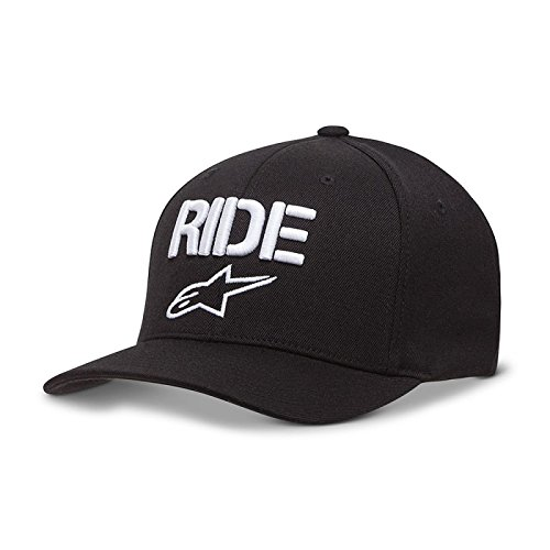 Alpinestars Herren Cap Ride Men's Logo Flexfit Hat Curved Bill Flex Back Schwarz