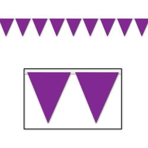 Indoor/Outdoor Pennant Banner (purple) Party Accessory (1 count) (1/Pkg) by Grim Reaper (Purple Pennant Banner)