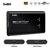 جهاز التقاط الفيديو عالي الدقة من كوفي، بطاقة HDMI إلى USB3.0 HD محولات فيديو لعبة بث مباشر بث مباشر 1080 بكسل لأجهزة الكمبيوتر المحمول/بلاي ستيشن 4/سوي/إكس بوكس