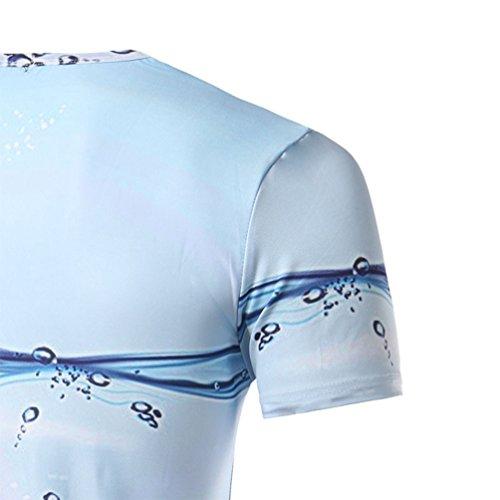 ZhiYuanAN Herren Sommer Populäres Kurzarm T-Shirt 3D Gedruckt Mit Wasser Tröpfchen Slim Rundhals Tee Shirt Tops Wie in Fig