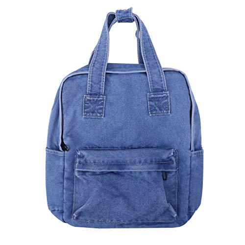 Cansenty Damen Vintage Rucksack Schultertasche Student Teenager Casual Taschen Handtasche hellblau