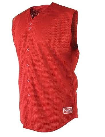 Rawlings Men's Sleeveless Full Button RSJ167 Jersey , Scarlet, X-Large