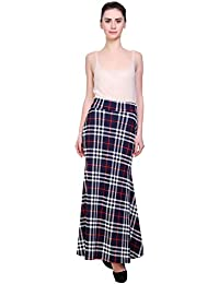 FRANCLO Women's Fish Cut Style Check Skirt (Best fit 30-34 Waist)
