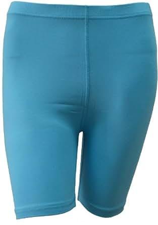 NEW WOMEN'S STRETCHY COTTON LYCRA OVER-KNEE SHORT ACTIVE LEGGINGS (Large UK 14 (40), Sky Blue)