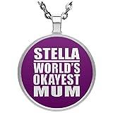 Stella World's Okayest Mum - Circle Necklace Purple / One Size, Pendentif Charme Plaqué Argent avec Collier, Cadeau pour Anniversaire, Noël