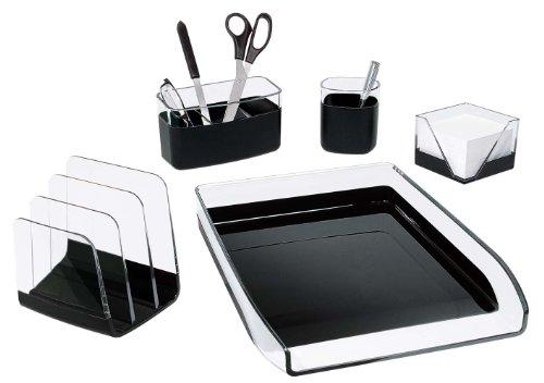wedo-starlet-0660101-set-de-bureau-complet-en-plastique-5-pieces-transparent-noir