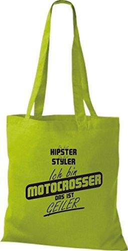 Shirtstown Stoffbeutel du bist hipster du bist styler ich bin Motocrosser das ist geiler lime