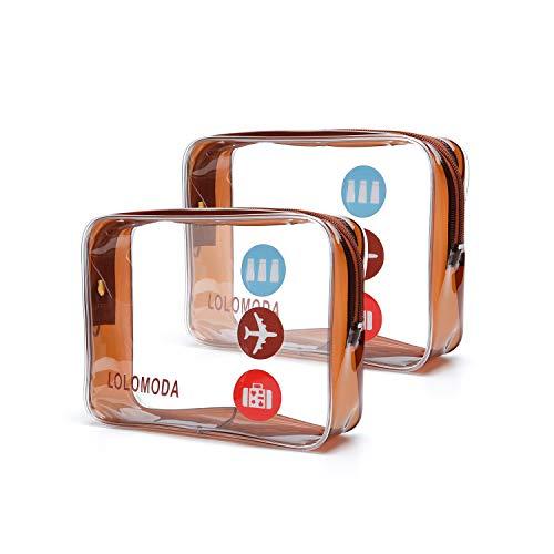Kulturbeutel Transparenter, 2 Durchsichtige Flugzeug Beutel, Kosmetiktasche für Koffer, Kulturtasche zum Transport von Flüssigkeiten, Transparente Toilettentasche Damen & Herren -
