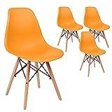 SVITA 4er Set Küchenstuhl Esszimmerstuhl Retro Design Schalensitz Farbwahl (Orange)