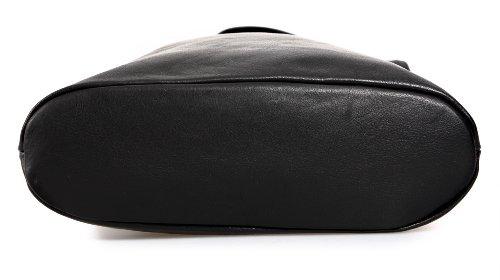 IO.IO.MIO Borsetta per le Icone® Ital. Croce Borsa a Tracolla per Donna in Nappa con Scelta di Colori 24,5x 28x 8,5cm (W x H x D) Black - Black
