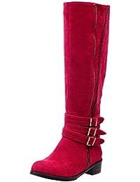 Odomolor Damen Mittler Absatz Mattglasbirne Mitte-Spitze Rein Ziehen auf Stiefel, Rot, 36