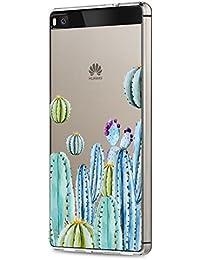 vanki Huawei P8 Funda, Protectiva Carcasa de Silicona de gel TPU Transparente, Ultra delgada Amortigua los golpes Case Cover Para Huawei P8 Pandas y elefantes flor