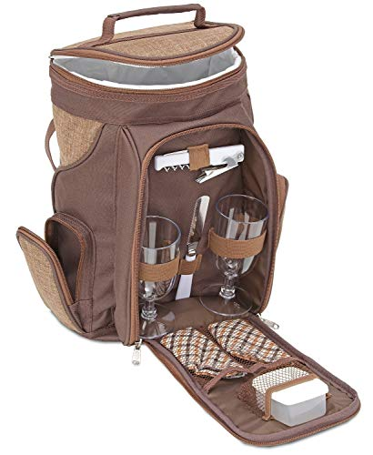Brubaker Wein oder Champagner Picknicktasche Rucksack mit Gläsern für 2 Personen mit Kühlfach Braun 20 × 17 × 36 cm