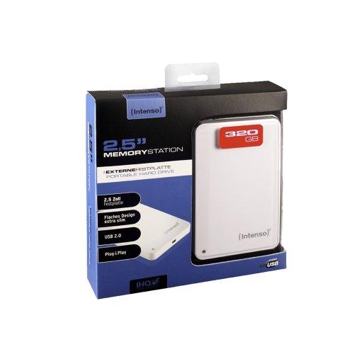 Intenso Memory Station 320GB externe Festplatte (6,4 cm (2,5 Zoll), USB-Y Kabel) weiß