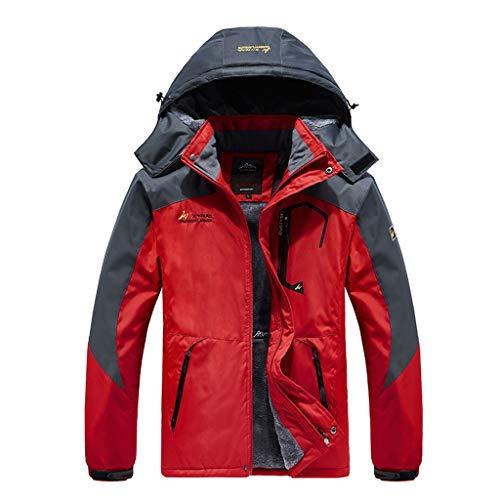 MOTOCO Herren Sportswear Hooded Softshell Outdoor Regenjacke Leicht Winddicht Bergwandern Klettern Windbreaker Coat(L,Rot)