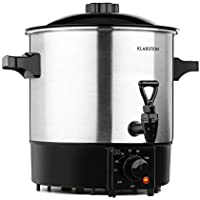 Klarstein Biggie Eco - Olla para mermeladas y dispensador de bebidas, 1000 W, 30-100 °C, 9 litros de volumen, grifo, luces de control, incluye rejilla