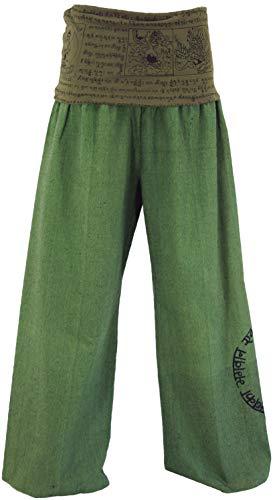 GURU-SHOP, Pantaloni Buddha Goa Benessere Pantaloni Benessere Pantaloni Yoga Pantaloni Hippie Pantaloni Hippie - Verde, Cotone, Dimensione Indumenti:S (36), Pantaloni Lunghi