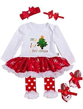 URBEAR Baby Mädchen Weihnachten Strampler Tutu Kleid Bekleidung 5 er Pack