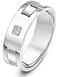 Theia Palladium 950 0.02 carat Diamond set in square setting with two grooves 6mm wedding Ring - Size O