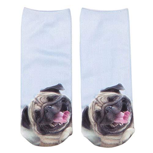 FHCGWZ 5 Teile/Satz Mode 3D Mops Hund Druck Socken Lässige Harajuku Kunst Socken Low Cut Tier Socke Knöchel Frauen Socke Kurz -